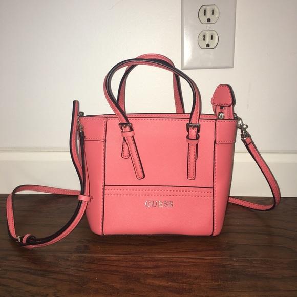 Guess Handbags - Guess Delaney Mini Tote Pink f62a43ad2d9bb